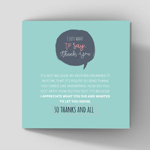 quirky thank you card mint background about showing appreciation