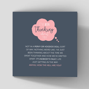 thoughful thinking about you greeting card dark background about life getting in the way