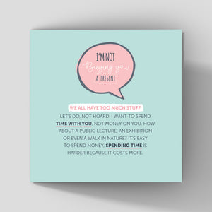 quirky birthday greeting card mint background about quality time