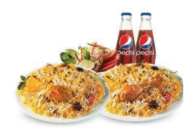 PAKISTAN MART | Grocery Delivery 2 Karachi Chicken Bryani Plate + Get 2 Regular Drink + Raita