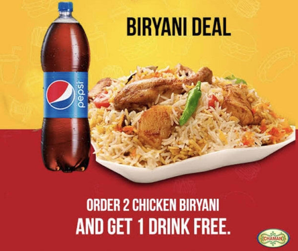 PAKISTAN MART | Grocery Delivery 2 Karachi Chicken Bryani Plate (Large) + 1L Drink (Free)
