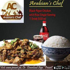 ARABIAN'S CHEF ARABIAN'S CHEF ARABIAN'S CHEF Deal - Black Pepper Chicken  with Rice Single Serving ,  1 Drink 500 ml