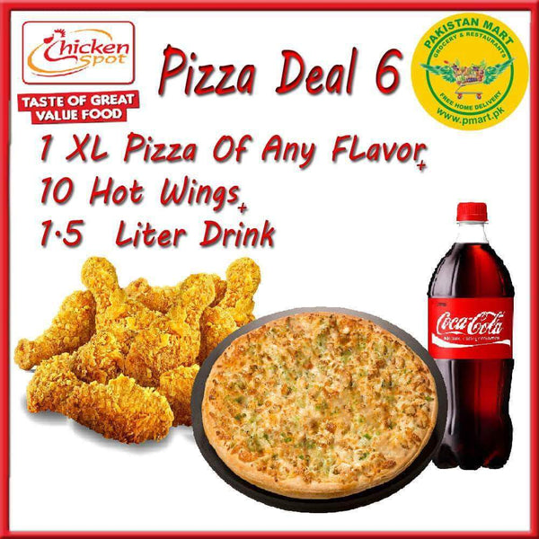 "Chicken Spot Chicken Spot Chicken Spot – Pizza Deal 5 - (1 *  Extra Large 15 "" Pizza , 10 * Hot Wings , 1 * 1.5 Litre Drink )"