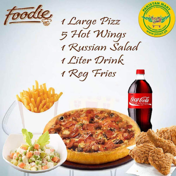 Foodie Foodie Foodie - Pizza Deal 3 ( 1 * Large Pizza , 1 * Russian Salad , 5 * Hot Wings , 1 * Regular Fries , 1 * Litre Drink )