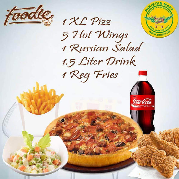 Foodie Foodie Foodie - Pizza Deal 4 ( 1 * Extra Large Pizza , 1 * Russian Salad , 5 * Hot Wings , 1 * Large Fries , 1 * 1.5 Litre Drink )