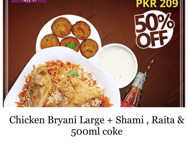 PAKISTAN MART | Grocery Delivery Karachi Chicken Bryani Plate (Large) + Shami, Raita , 500ml Coke