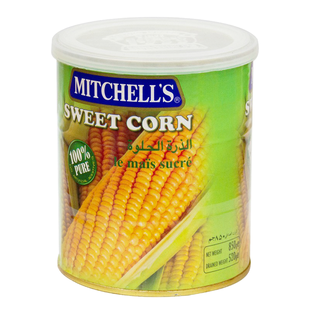 Alfatah Canned Food Mitchells Sweet Corn Large(Tin) 850 gm