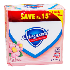 Alfatah BATH ITEMS Safeguard Soap Floral Scent Family Pack 145x3 gm