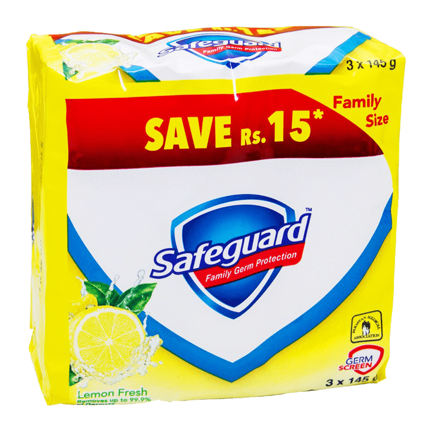 Alfatah BATH ITEMS Safeguard Soap Lemon Fresh Value Pack 3x145 gm