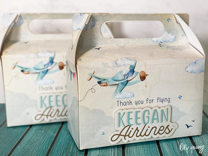 Large Vintage Plane Party Boxes - Pack of 12