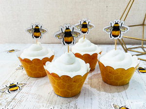 Bee Cupcake wrappers & toppers - Pack of 12