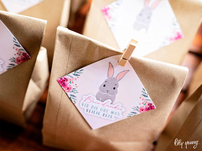 Floral Bunny Thank you tags - Pack of 12