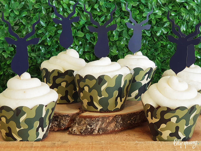 Camo Cupcake wrappers & toppers - Pack of 12