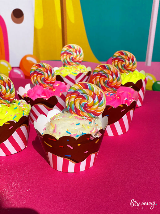 Candy Land Cupcake wrappers & toppers - Pack of 12