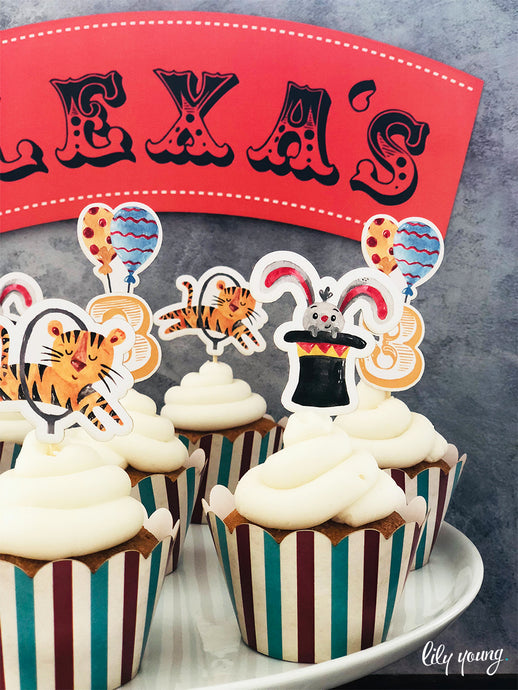 Circus Cupcake wrappers & toppers - Pack of 12
