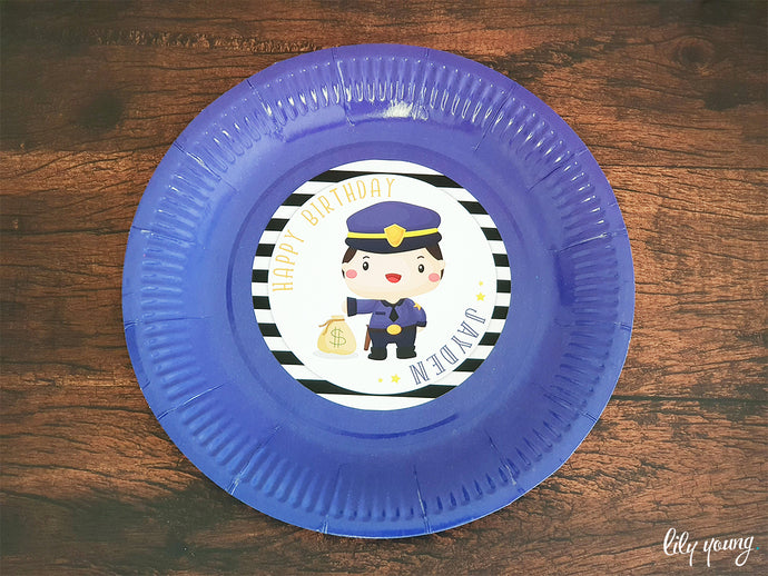 Cops & Robbers Plate with sticker - Pack of 12