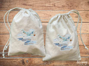 Pack of 10 Airplane Drawstring Material Bags with printing