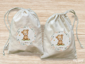 Pack of 10 Bear Drawstring Material Bags with printing
