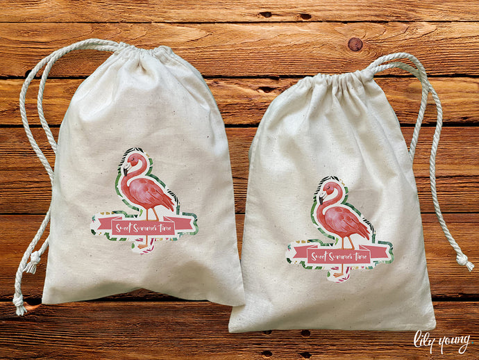 Pack of 10 Flamingo Drawstring Material Bags with printing