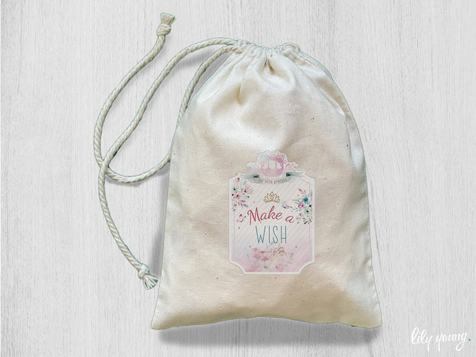 Pack of 10 Princess Drawstring Material Bags with printing
