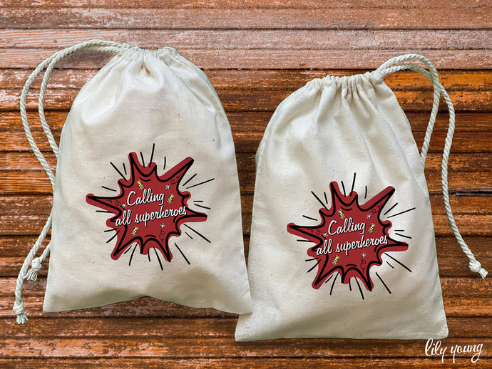Pack of 10 Superhero Drawstring Material Bags with printing