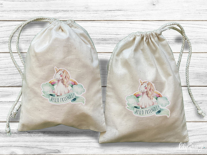Pack of 10 Unicorn Drawstring Material Bags with printing