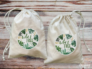 Pack of 10 Wild One Drawstring Material Bags with printing