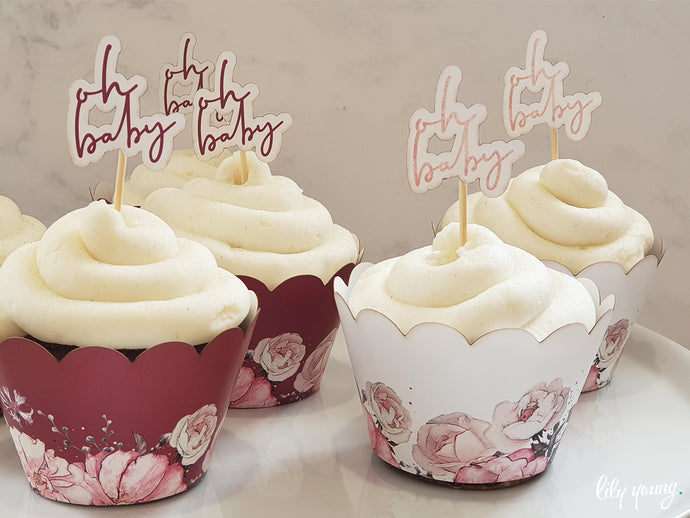 Floral Cupcake wrappers & toppers - Pack of 12