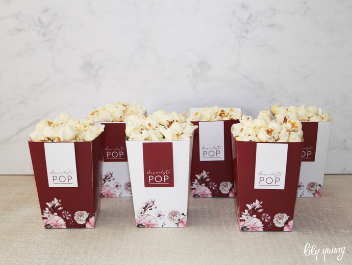 Floral Popcorn Box - Pack of 12