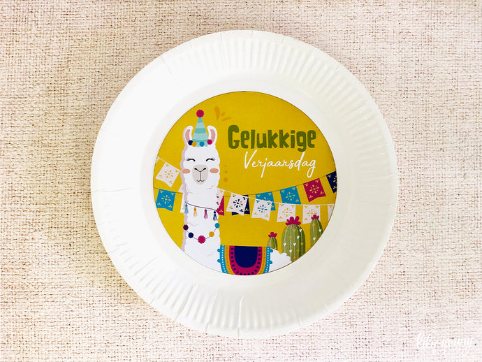 Llama Plate with sticker - Pack of 12