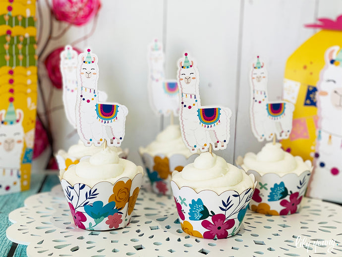 Green/Yellow Llama Cupcake wrappers & toppers - Pack of 12