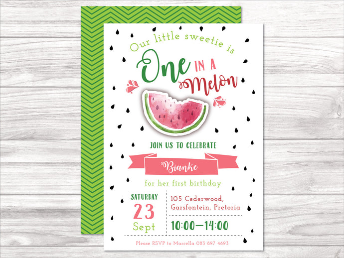 One in a Melon E-Invitation
