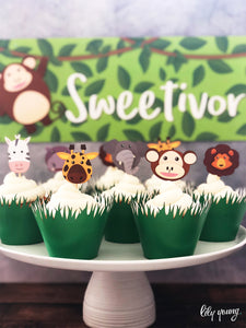 Safari Cupcake wrappers & toppers - Pack of 12