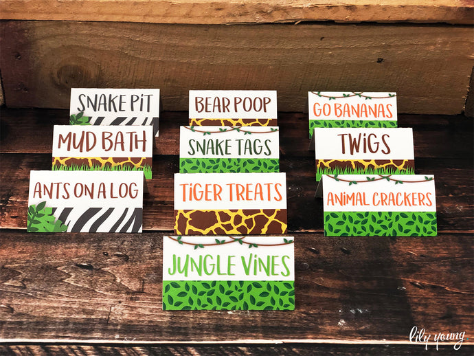 Safari Food tags - Pack of 12