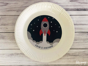 Space Plate with sticker - Pack of 12