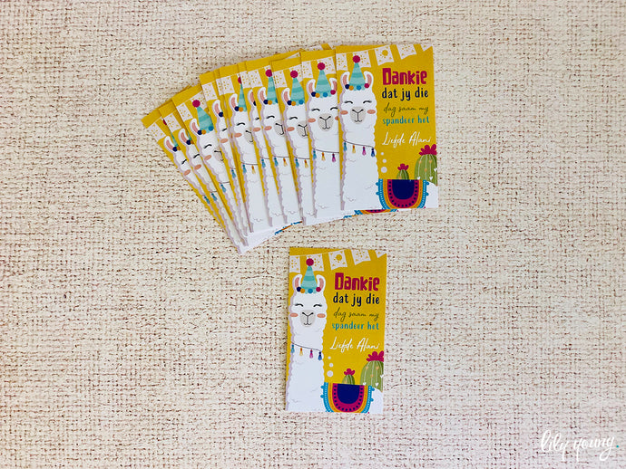 Green/Yellow Llama Thank you tags - Pack of 12