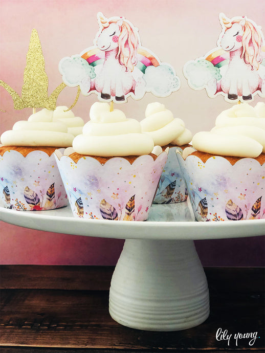 Unicorn Cupcake wrapper & topper - Pack of 12