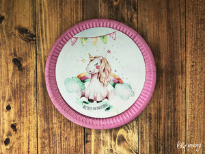Unicorn Plate with sticker - Pack of 12