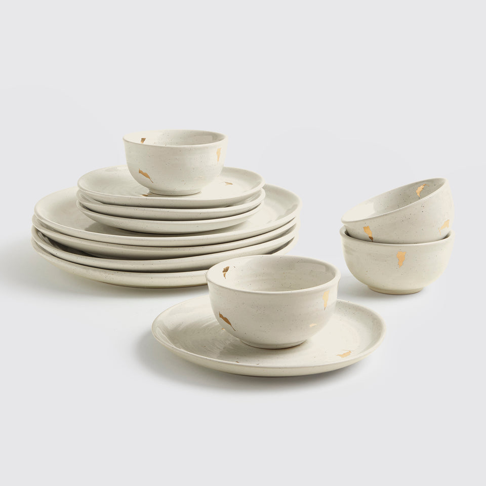 Ganga Dinner Set of 4 <span><br> Beige </span>