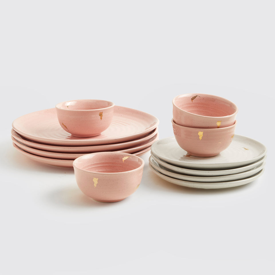 Ganga Dinner Set of 4 <span><br> Old Rose with Beige </span>