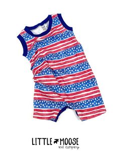 GWM romper - 1-3 year ~ Blue Stars and Red Stipes