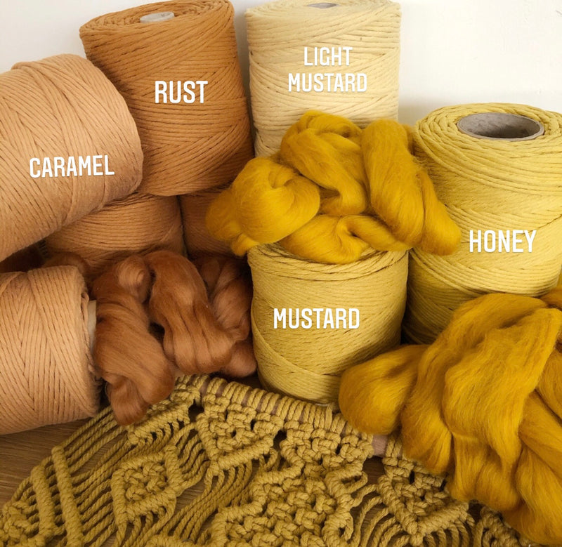 LIGHT MUSTARD Coloured Macrame Cord 4mm 1kg