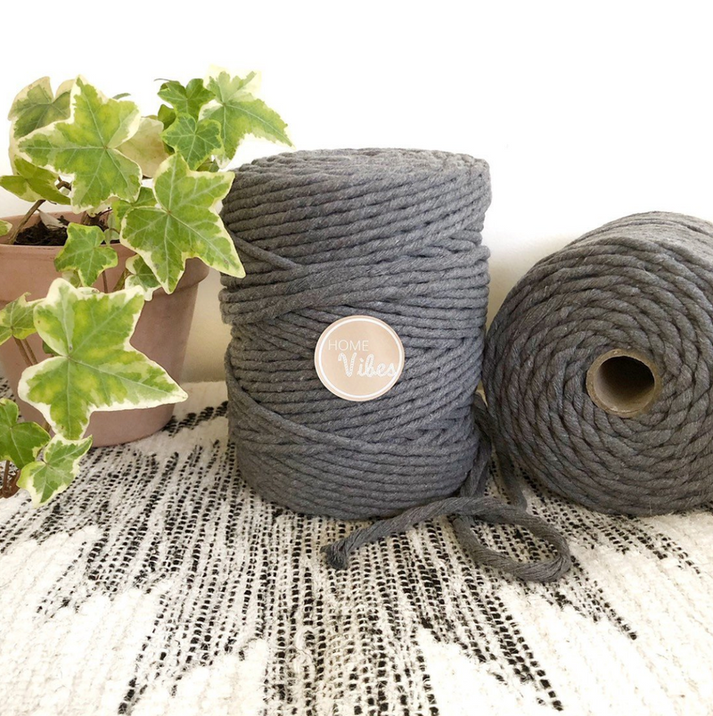 GREY ASH Coloured Macrame Cord 6mm 1kg