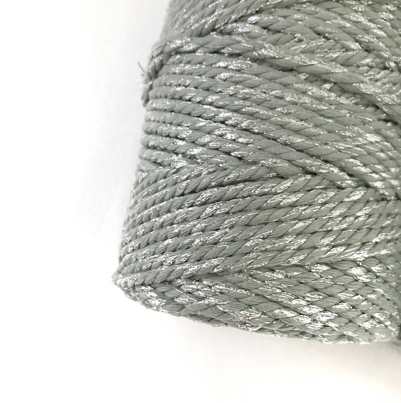 Metallic GREY GLITTER Macrame Cord 4mm 100m