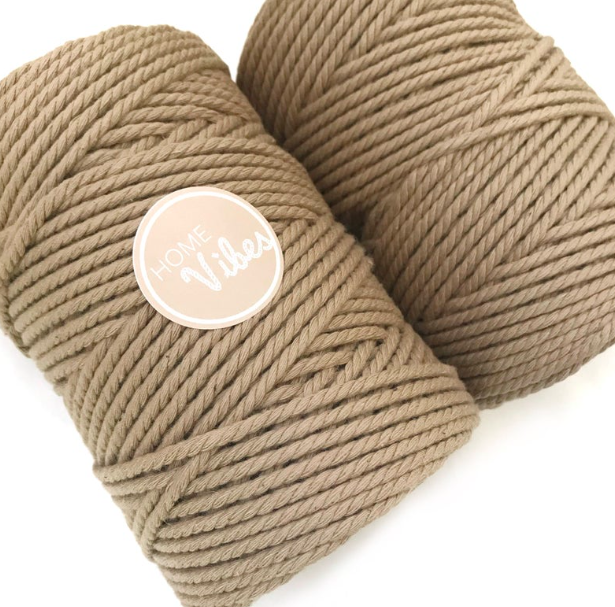 Coloured Macrame Cord SEPIA 4mm 100m