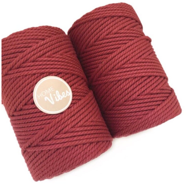 Coloured Macrame Cord ROSEWOOD 4mm 100m