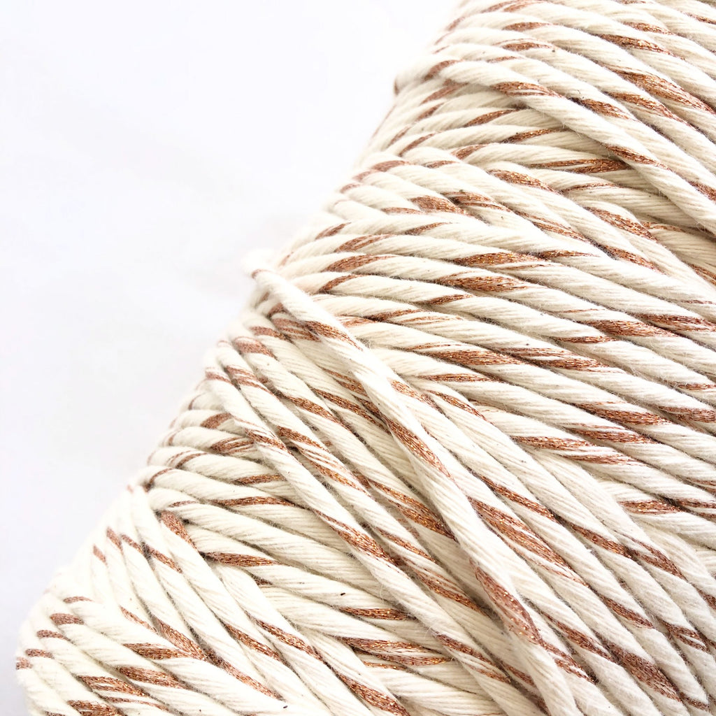 Coloured Macrame Cord, Bronze, Gold and Silver 4mm Single Twist 1kg