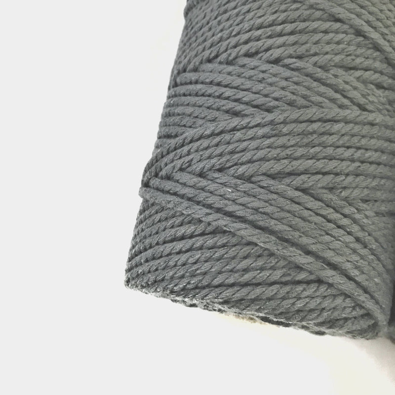 Dark Grey Coloured Macrame Cord 4mm 100m