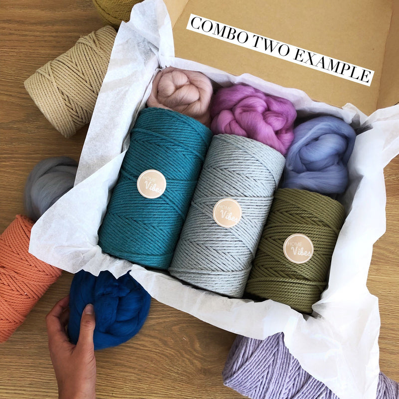 Macrame Cord and Wool Roving Colour Bento Box