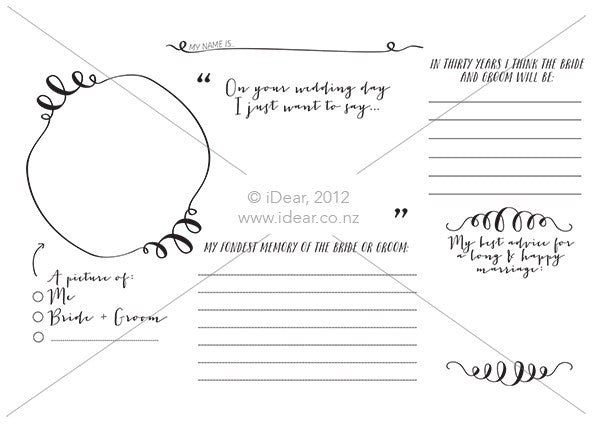 Wedding placemat printable- 'Vintage' A4 size